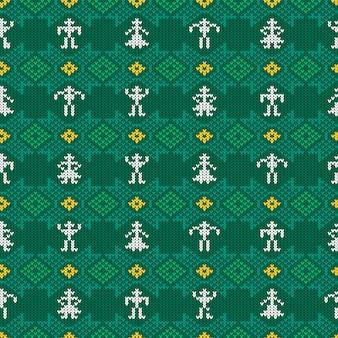 Вязаный шерстяной узор с национальным норвежским орнаментом