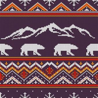ホッキョクグマと雪をかぶった山々と冬のニットウールパターン