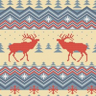 赤い鹿と冬ニットウールのシームレスパターン
