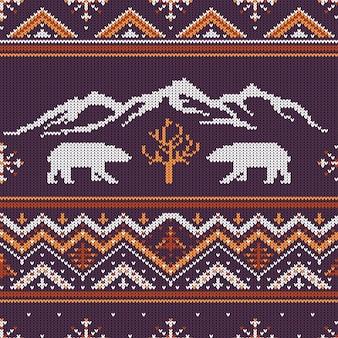 ホッキョクグマと山の冬ニットウールパターン