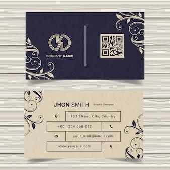 Цветочный винтажный дизайн визитной карточки