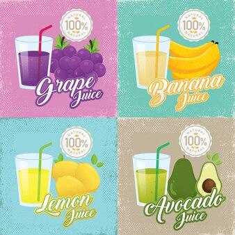 フルーツとガラスのビンテージ広告
