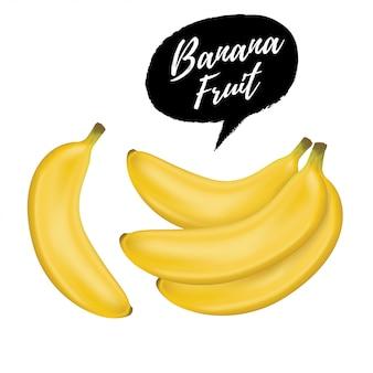 白い背景で隔離のバナナのリアルなイラストの束