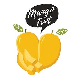 熟した新鮮なマンゴーのベクトルイラスト