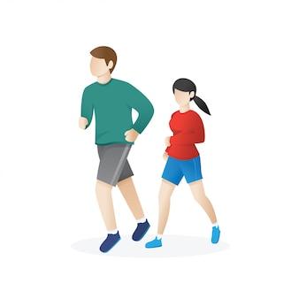 若い男と走っている女性