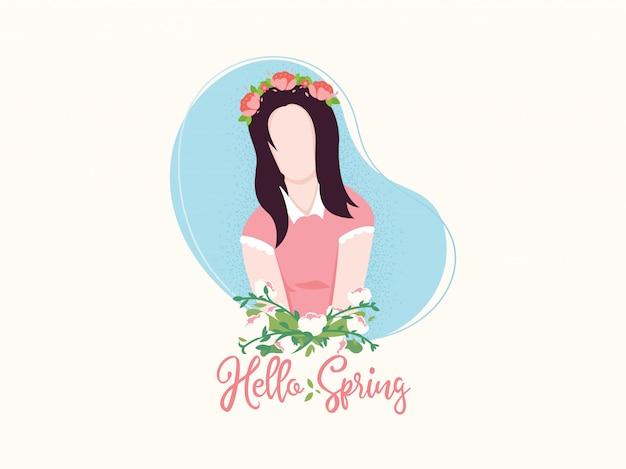 春の花の頭飾りを持つ少女