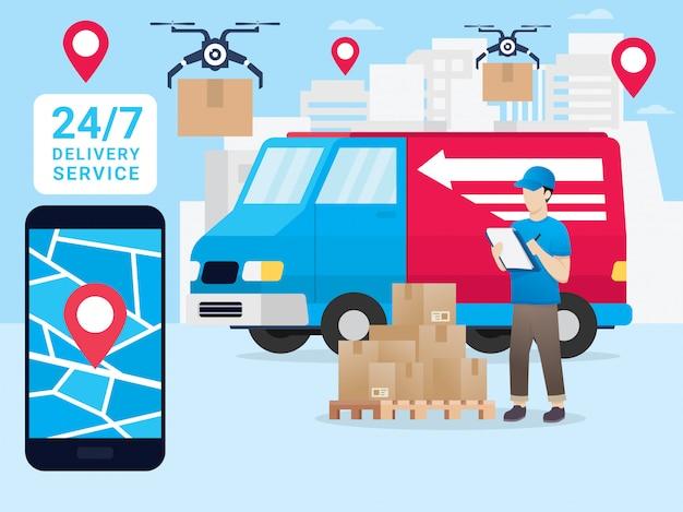 スマートフォンでの小包の動きのオンライン追跡