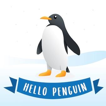 Милая иллюстрация персонажа из мультфильма пингвина, пингвин на снеге. милый пингвин, антарктическая птица, иллюстрация животных