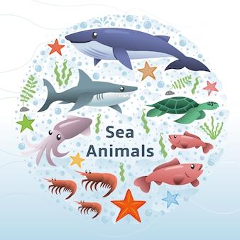 海の動物のベクトルのセット