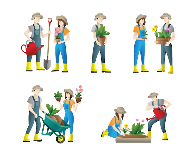 ガーデニングの人々。庭仕事をしている人々のフラットイラストのセット。