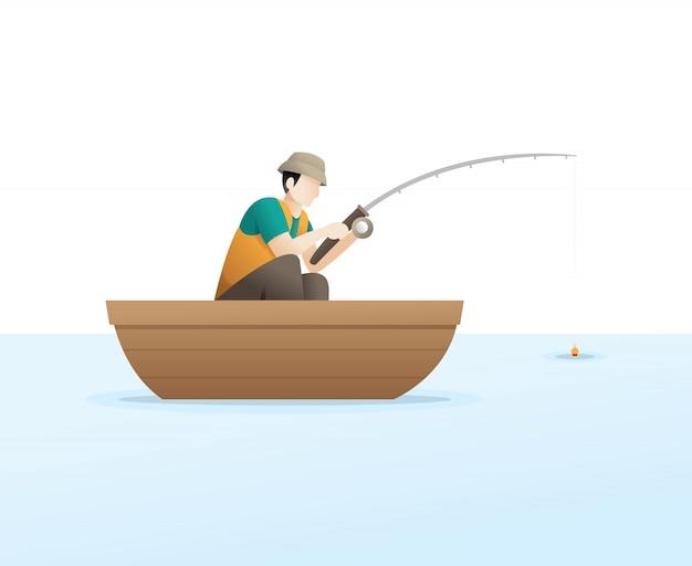 湖での釣り
