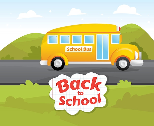 Желтый классический школьный автобус