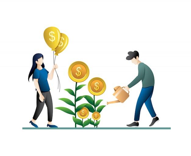 人と投資のビジネスコンセプト