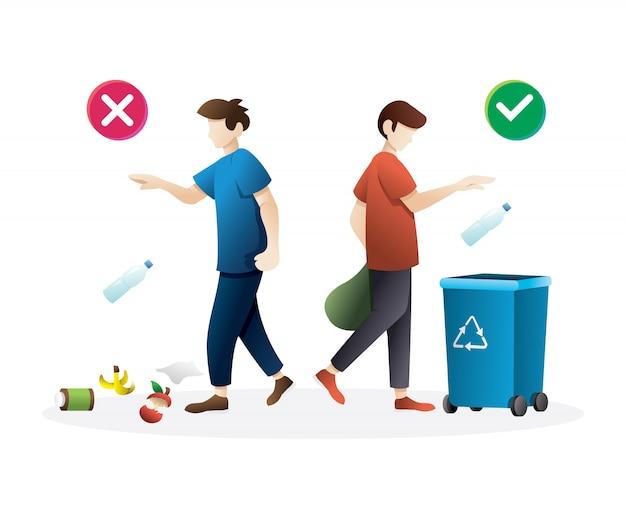 ポイ捨て廃棄物の正しい動作と間違った動作