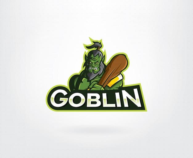 緑の怒っているゴブリンマスコットキャラクターロゴ