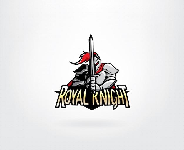 戦士の騎士のマスコットのロゴデザイン