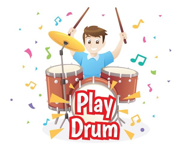 Иллюстрация маленький мальчик играет на барабанах