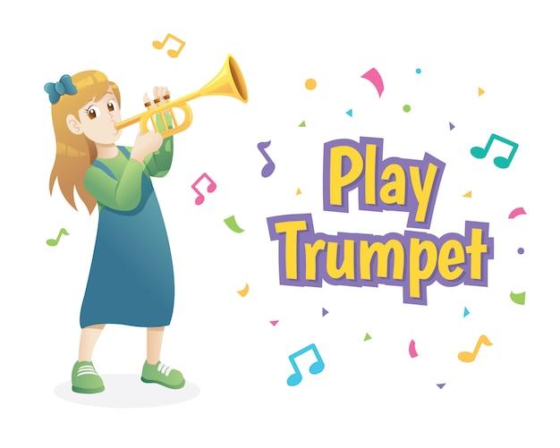 Девушка играет на трубе