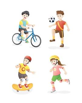 遊んでいる子供のベクトルイラスト