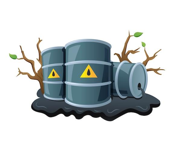 Черные металлические бочки и разлитая нефть
