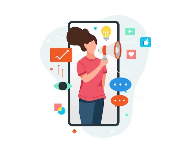 Женщина на экране смартфона держит мегафон