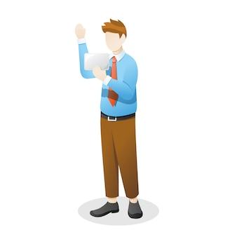 Сотрудник или бизнесмен машет рукой и держит что-то товар