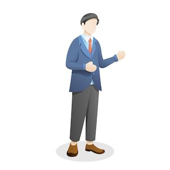 Молодой человек стоял в костюме и галстуке