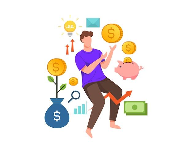 Молодой человек получает монеты из инвестиционного бизнеса