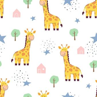 Бесшовный узор милый жираф