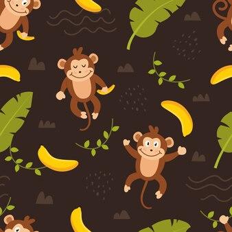 Бесшовный узор милые обезьяны