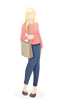 Портрет молодой женщины, ходить по магазинам с эко сумка