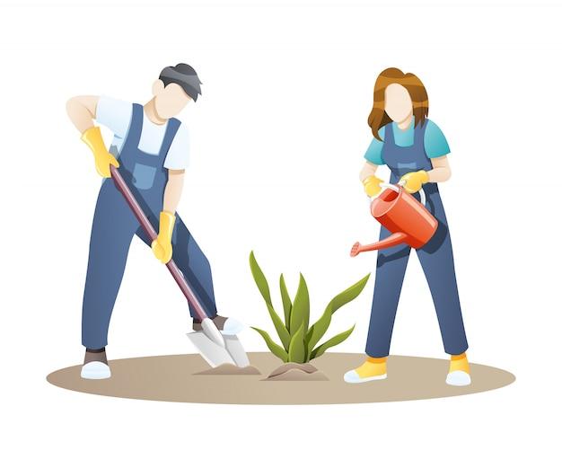 Иллюстрация женщина и мужчина, садоводство вместе