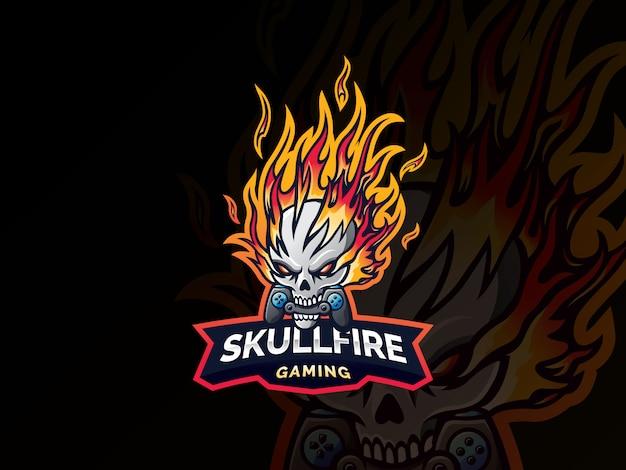Череп огня дизайн логотипа