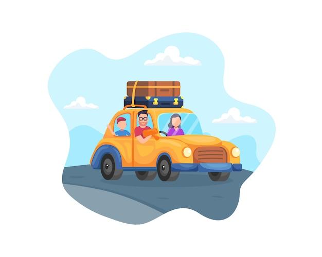 Счастливая семейная поездка на машине