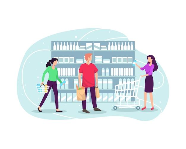 スーパーで買い物をし、商品を購入する人