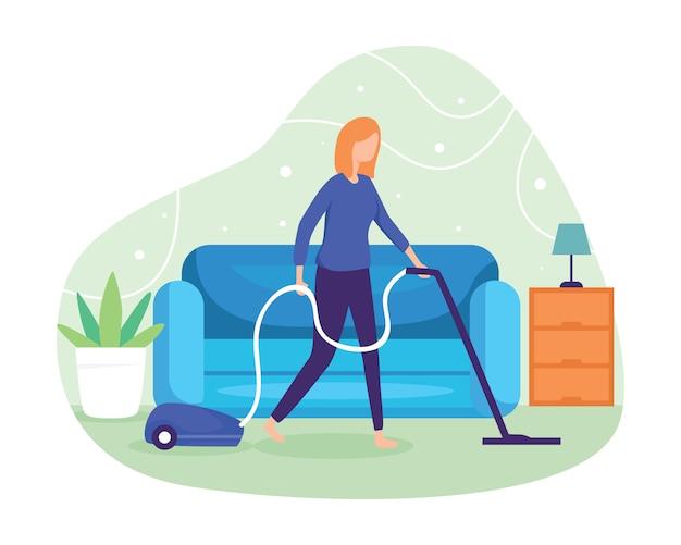 掃除機で床とカーペットを掃除します