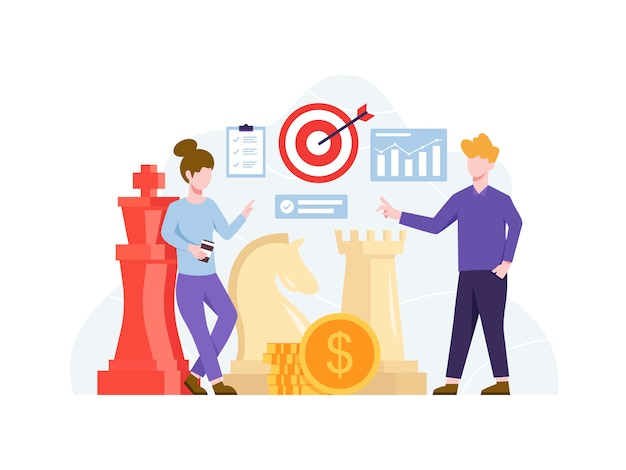 イラスト投資戦略コンセプト