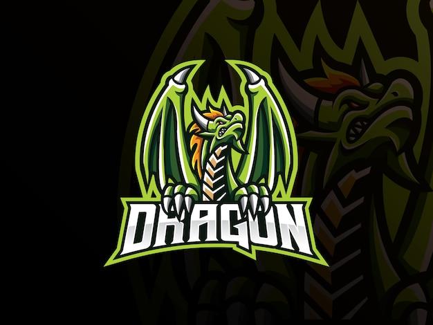ドラゴンマスコットスポーツロゴデザイン