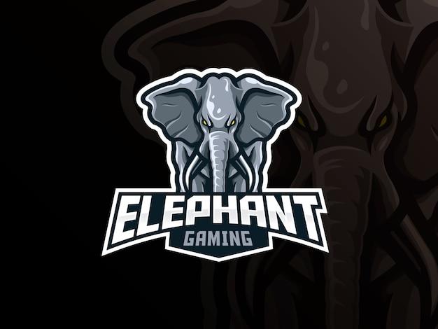 象のマスコットスポーツロゴデザイン