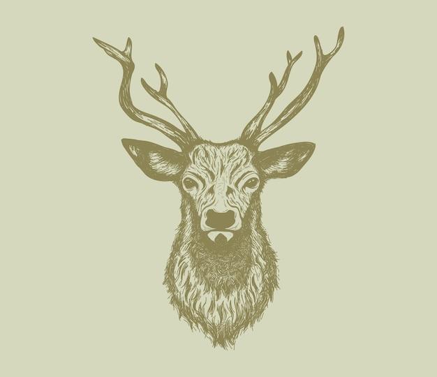 Иллюстрация головы оленя с ручным рисунком