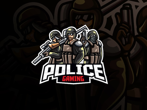 警察マスコットスポーツロゴデザイン