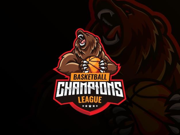 クマのマスコットスポーツロゴデザイン。野生のグリズリークママスコットベクトルイラストロゴ。バスケットボールのボールを保持している怒っているクマのマスコット、