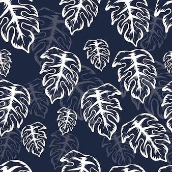 熱帯植物とのシームレスなパターン