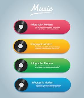 ビニールレコードのインフォグラフィックの背景
