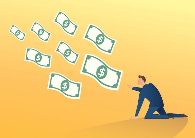 Бизнесмен пытается поймать летать деньги вектор
