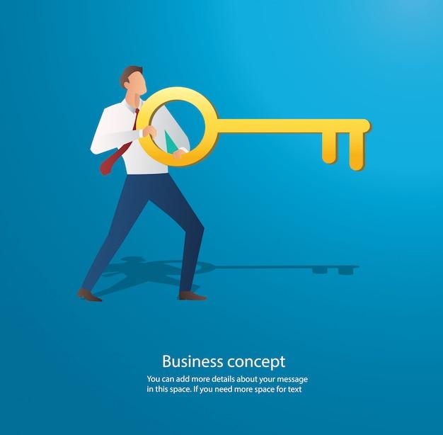 大きな鍵を保持している実業家