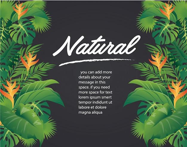 緑の葉のモダンなデザインと黒の背景のベクトル
