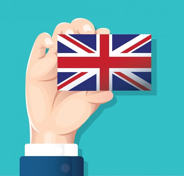 イギリスの国旗カードを持っている手
