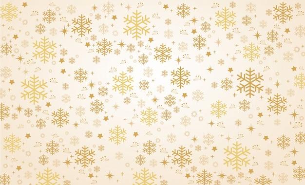 ゴールドスノーフレーク冬の背景のベクトル