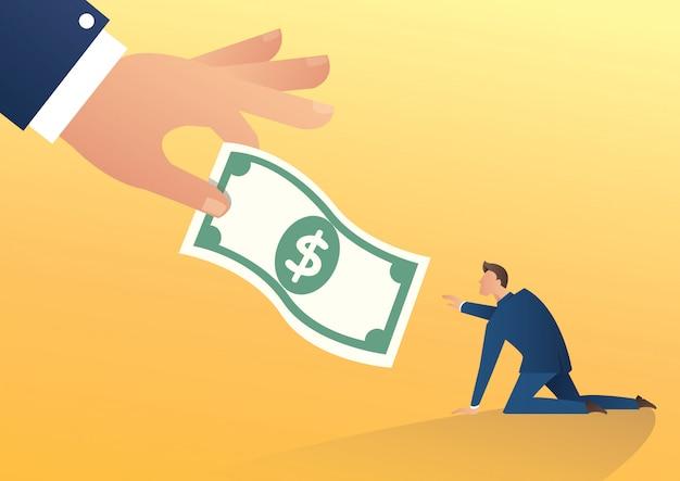 大きな手が実業家にお金を与える